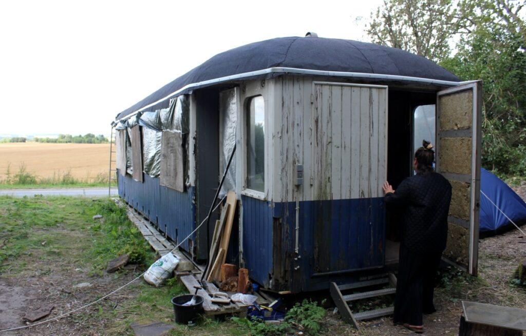 Togvogn der skal blive til et tiny house